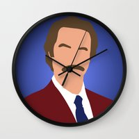 anchorman Wall Clocks featuring Ron Burgundy - Anchorman by Tom Storrer
