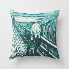 The Scream's Haze (light blue) Throw Pillow