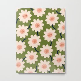 Flower field - green Metal Print