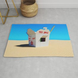 Chinese Take-out Oyster Pail Pop Art Desert Landscape by Jeanpaul Ferro Rug