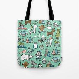 Christmas Time, Christmas Critter, Aqua Blue, Holly Jolly Holiday Pattern Tote Bag