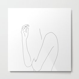 Figure line drawing illustration - Dorit Metal Print