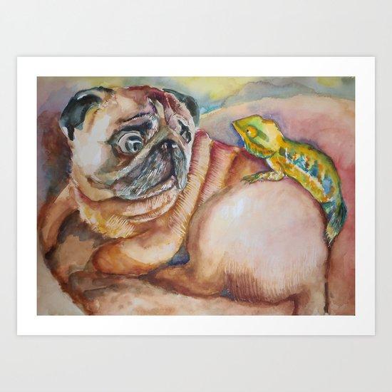 Pug and Chameleon Art Print