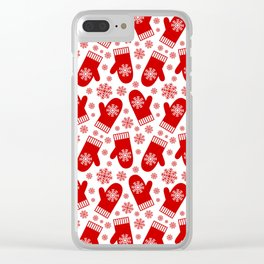 Happy Christmas Mittens Clear iPhone Case