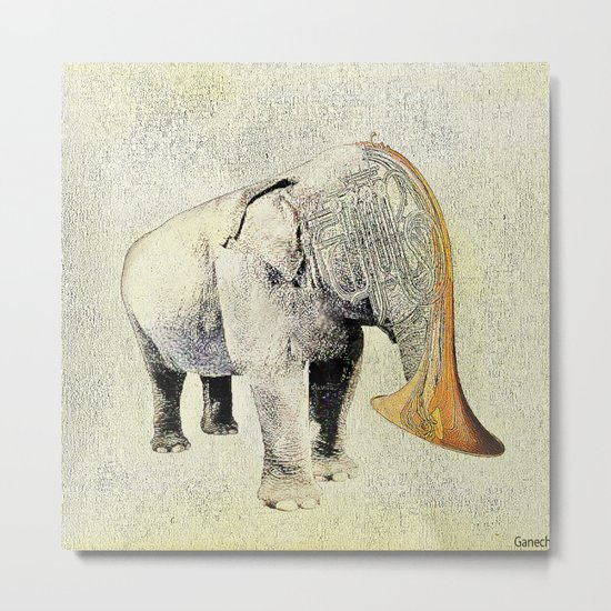 the elephant musician Metal Print