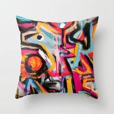 Blue Dog Street Abstract Graffiti Art Throw Pillow