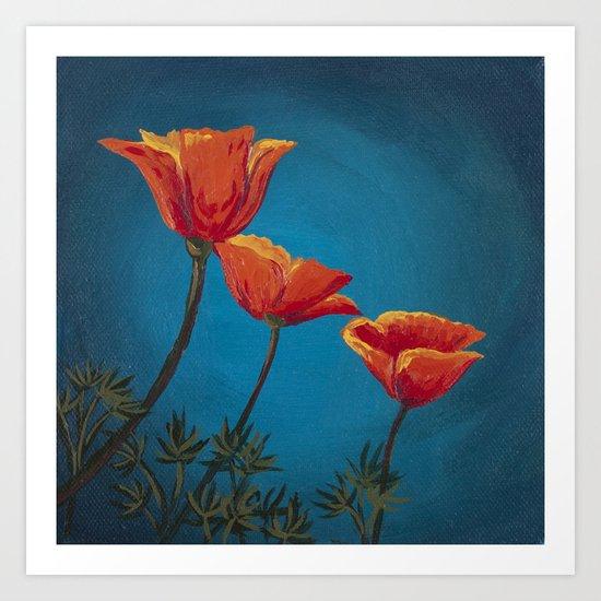 California Dreamin' - Orange Poppies  Art Print