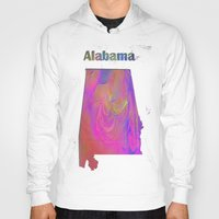 alabama Hoodies featuring Alabama Map by Roger Wedegis