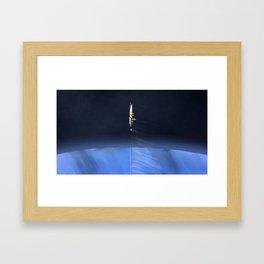 Gas Miner above Blue Planet Framed Art Print