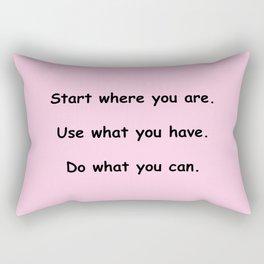 Start where you are - Arthur Ashe - pink print Rectangular Pillow