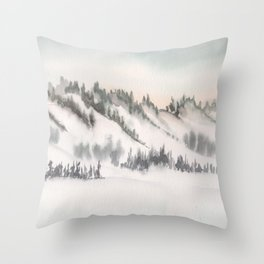 2019 Watercolor Winter Scapes Series 001 Watercolor Painting Throw Pillow