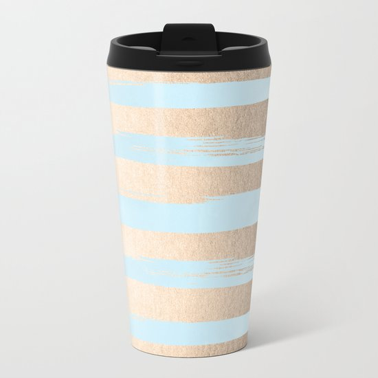 Paint Stripes Gold Tropical Ocean Sea Turquoise Metal Travel Mug
