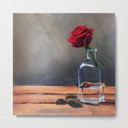 Red Rose and Vase Still Life Metal Print
