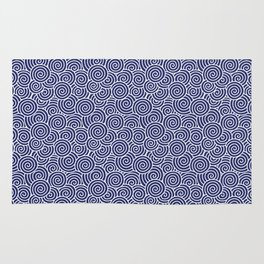 Chinese Spirals | Abstract Waves | Blue and White Rug