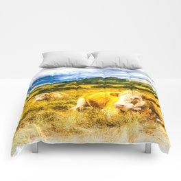 Resting Heifers Art Comforters