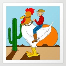 Chicken Cowboy Art Print