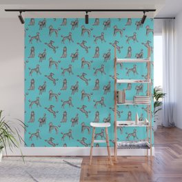 Gray Poodles Pattern (Blue Background) Wall Mural