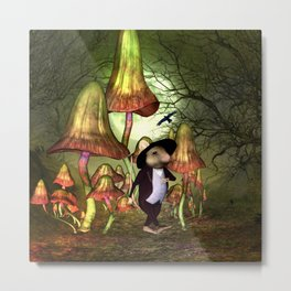 Cute little mouse alone in the night Metal Print