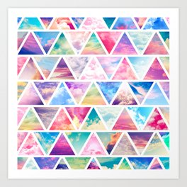 Pink Clouds Teal Sky Abstract Triangles Pattern Art Print