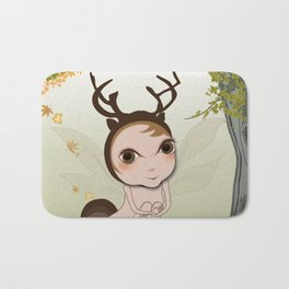 Deery Fairy under Autumn Leaves Bath Mat