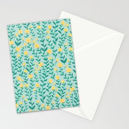 Emerald green and Yellow Minimal Retro Flowers Pattern Stationery Cards