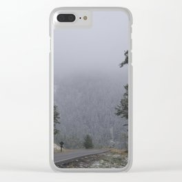Snowy Drive through Yellowstone Clear iPhone Case