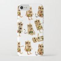 robots iPhone & iPod Cases featuring robots by Lara Paulussen