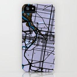Philadelphia Street Map // Blue Theme iPhone Case