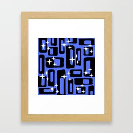 Retro Mid Century Modern Abstract Pattern 581 Black and Blue Framed Art Print