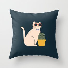 Cute, fun cat with a cactus plant on dark background Throw Pillow