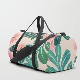 Colorful Tropical Vintage Flowers Abstract Duffle Bag