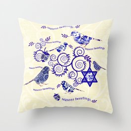 Hanukkah Seasons Tweetings  Throw Pillow