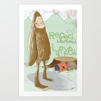 sasquatch Art Prints featuring Sasquatch by by hannah's hand