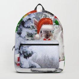 Schneehasen wünschen: frohe Weihnachten Backpack