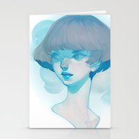 loish Stationery Cards featuring visage - blue by loish