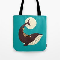 giraffe Tote Bags featuring The Giraffe & the Whale by Jay Fleck