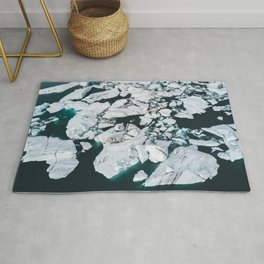 Icelandic glacier icebergs from above - Landscape Photography Rug