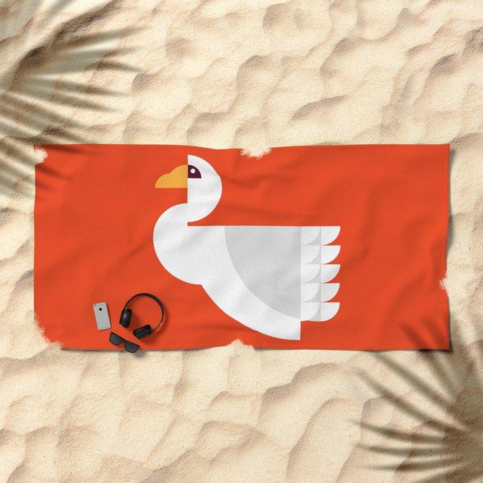 Geometric swan Beach Towel