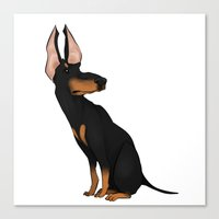 doberman Canvas Prints featuring Doberman by Carina Soares