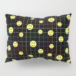 Colorful Smiley Emoji 4 - black Pillow Sham
