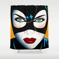 catwoman Shower Curtains featuring Catwoman by mark ashkenazi