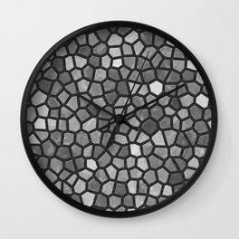 Faux Stone Mosaic in Darker Grays Wall Clock
