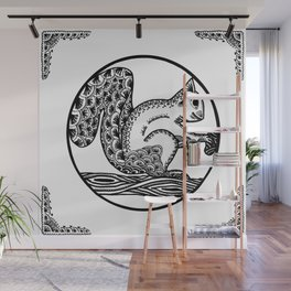 Squirrel Boho style Black and White Wall Mural