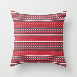 Ships Ahoy Red/Blue Stripe Throw Pillow