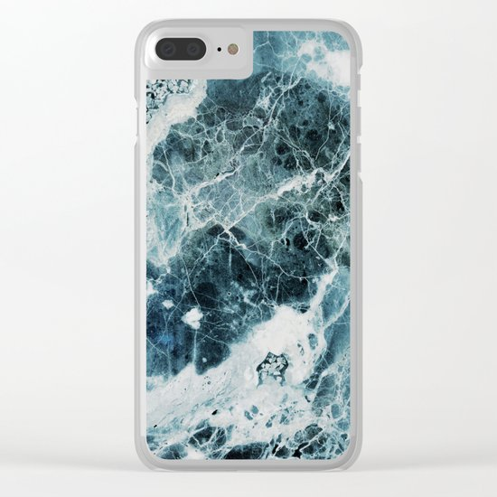 Blue Sea Marble Clear iPhone Case