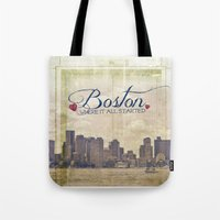 boston Tote Bags featuring Boston by Artsy B