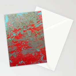 texture - aqua and red paint Stationery Cards