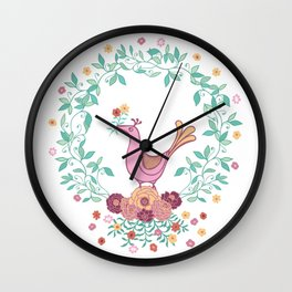 Cute bird holding flower in a wreath vector illustration Wall Clock