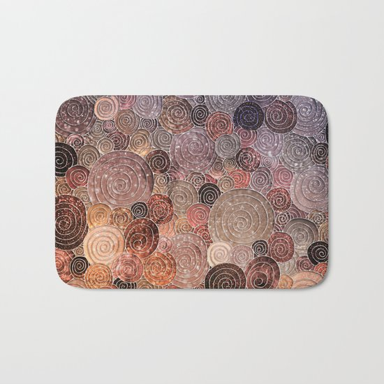 Abstract brown glamour glitter circles and dots for Girls and ladies Bath Mat