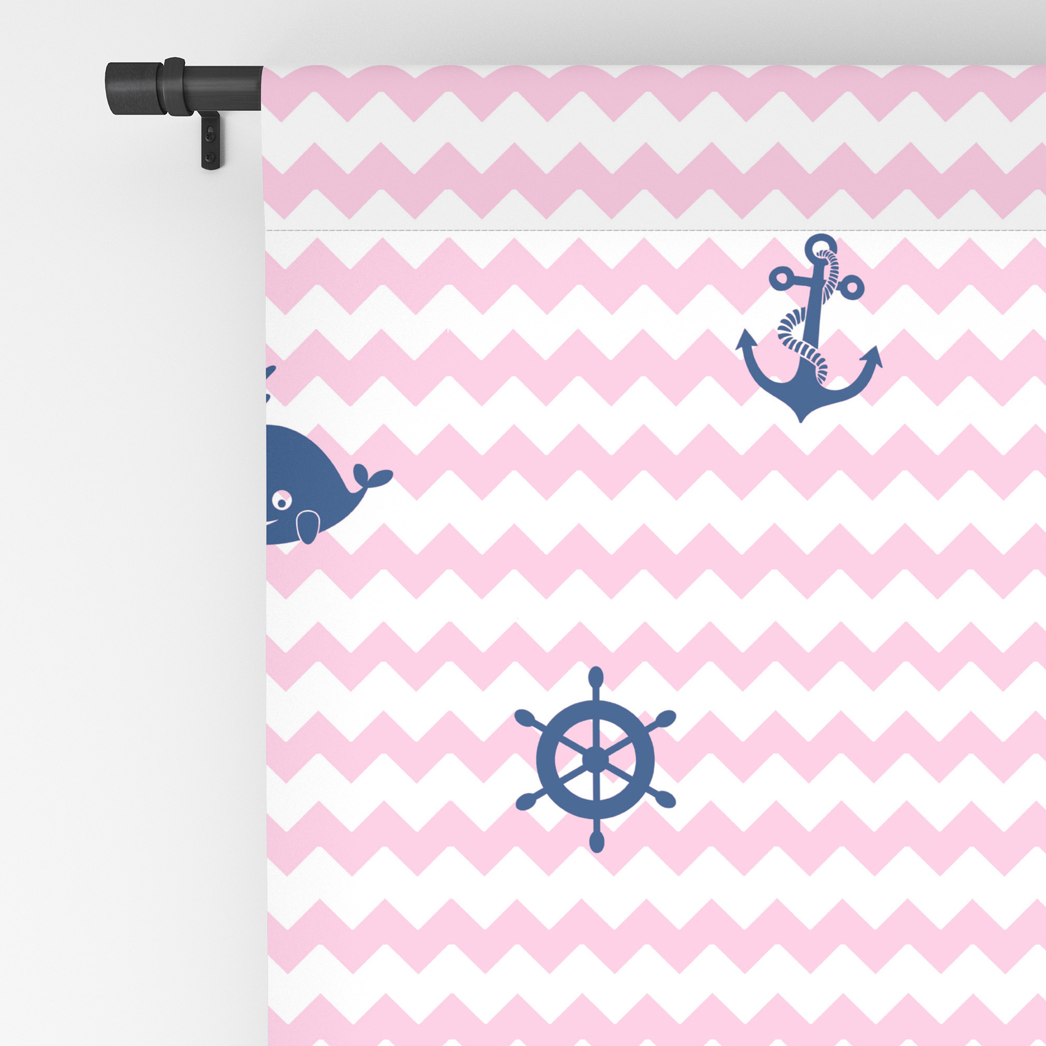 Nautical Navy Blue Pink Chevron Baby Nursery Blackout Curtain By Decampstudios